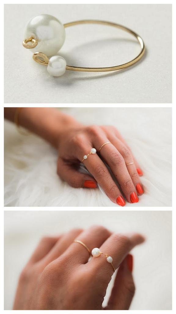 Anillos artesanales de alambre con perlas