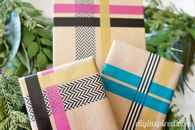 Papel de regalo personalizado con Washi Tape