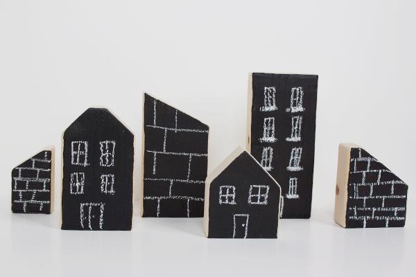 Bloques de madera personalizados con blackboard paint