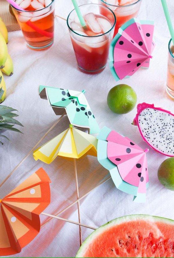 Sombrillitas de frutas para fiestas de verano