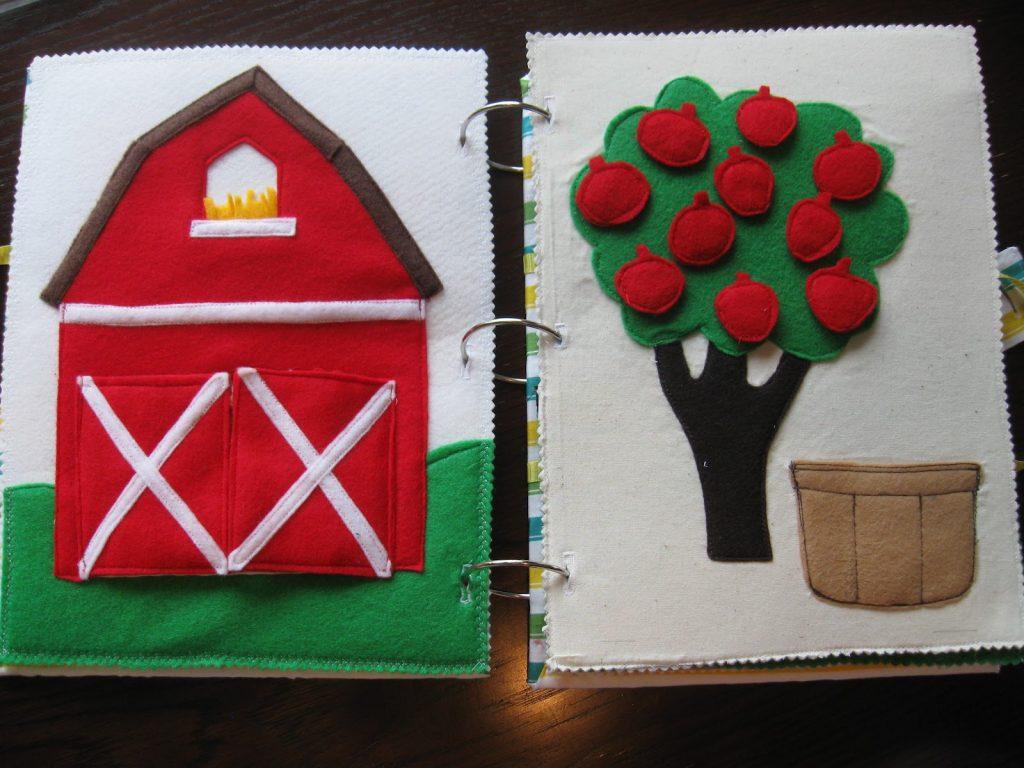 Libro de fieltro: granja y coger manzanas