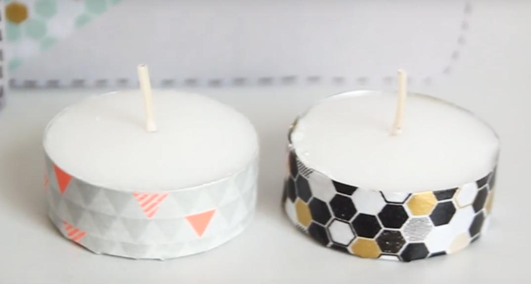 Velas decoradas con Washi Tape