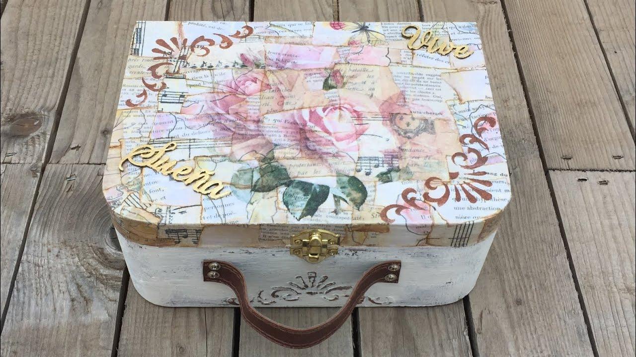 Decorar Una Maleta Vintage De Madera Con Mixed Media - Como-decorar-madera
