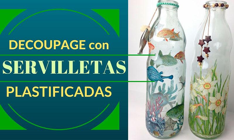 Cómo reciclar botellas de cristal con Decoupage